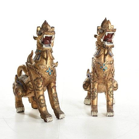 Dogs Foo Temple Lyons Asiatic -Pair Antique – 19 th Century-Rare Monumental Pieces-Wood Gold and Cristal