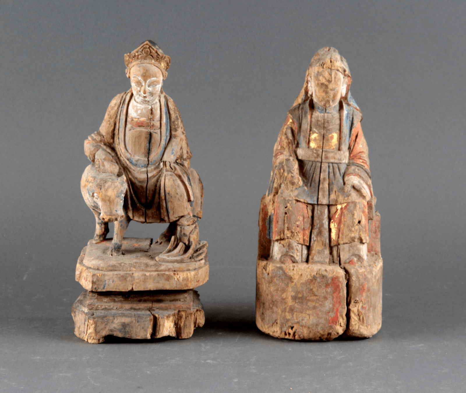 Chinese Taoist Figures Carved from Wood